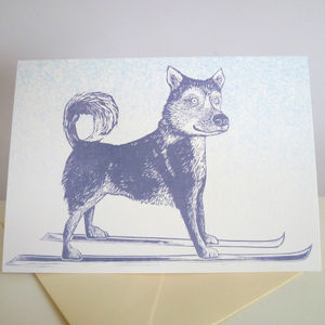 'Huski' Pack Of Six Christmas Cards - cards