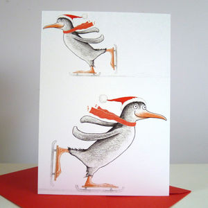 'Ice Skating Penguin' Pack Of Six Christmas Cards - cards