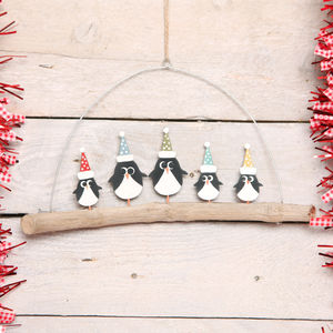 Five Christmas Penguins On Branch Decoration