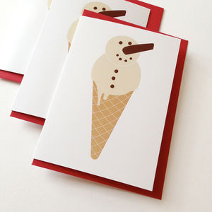 Ice Cream Snowman Christmas Cards