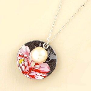Chocolate And Pink Floral Pearl Pendant