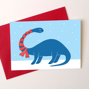Dinosaur Christmas Card 'Brontosaurus' - seasonal cards