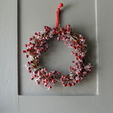 Frosted Cotton Berry Wreath - christmas decorations