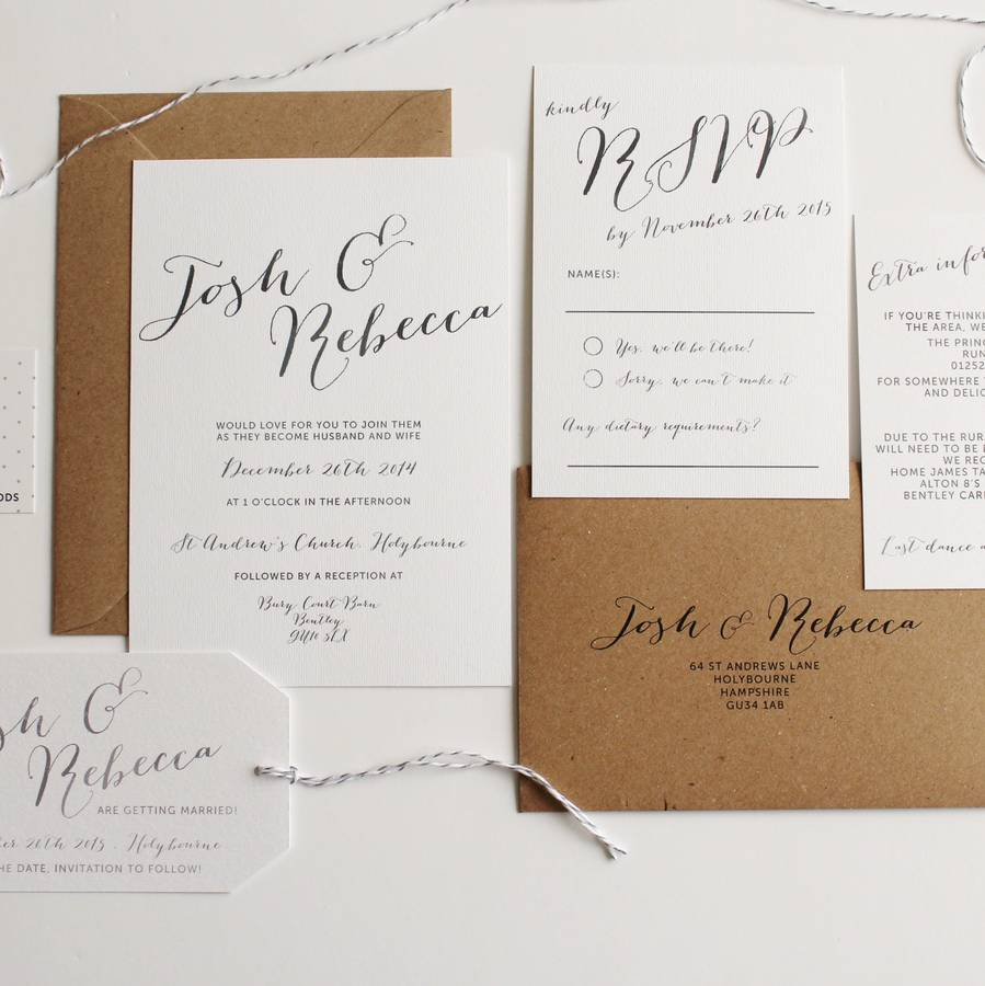 Elegant Calligraphy Wedding Invitation By Pear Paper Co