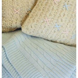 Cable Knit Throw, Light Blue - home sale