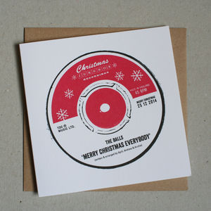 Record Label Personalised Christmas Cards - cards
