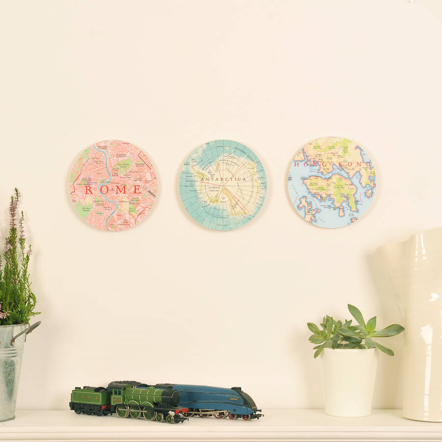 Bespoke Map Heart Trio Artwork By Bombus: Personalised Map Location 3d Circle Wall Art By Bombus
