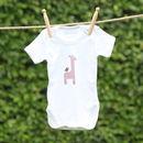 Organic Giraffe Print Short Sleeve Babygrow