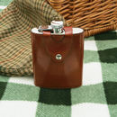 Brown Leather Covered Stainless Steel Hip Flask