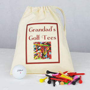 Personalised 'Grandad's' Golf Tee Bag - golf