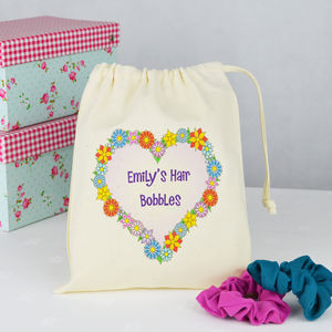 Personalised 'Hair Bobbles' Bag - hair care accessories