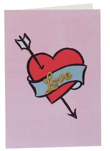 Love Gold Charm Heart Tattoo Greeting Card