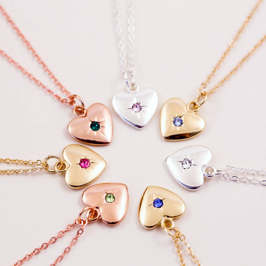 Starburst Heart Birthstone Necklace