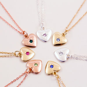 Starburst Heart Birthstone Necklace - winter sale