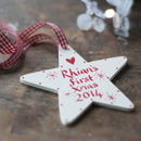 Cream personalised star for a baby's first Christmas