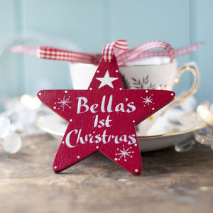 Personalised Baby's First Christmas Star - decorative accessories