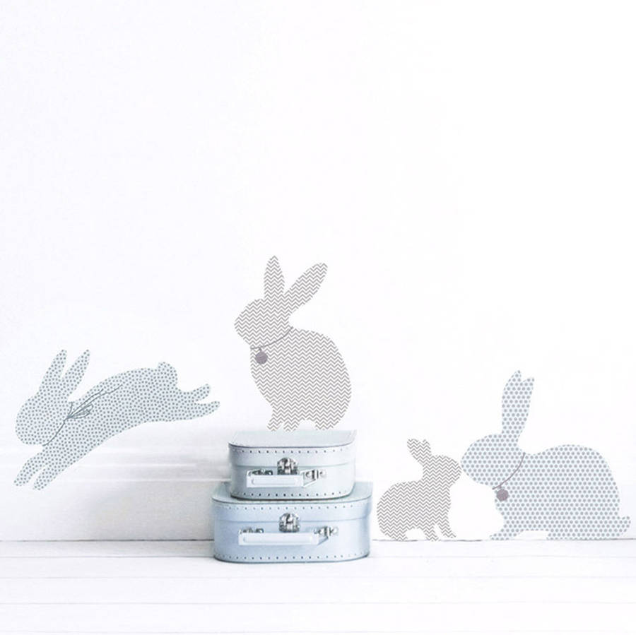 Rabbit Wall Stickers In Duck Egg Blue By Koko Kids