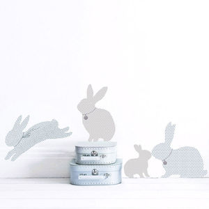 Rabbit Wall Stickers In Duck Egg Blue