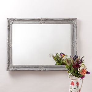 Vintage Ornate Grey Large Mirror - living room