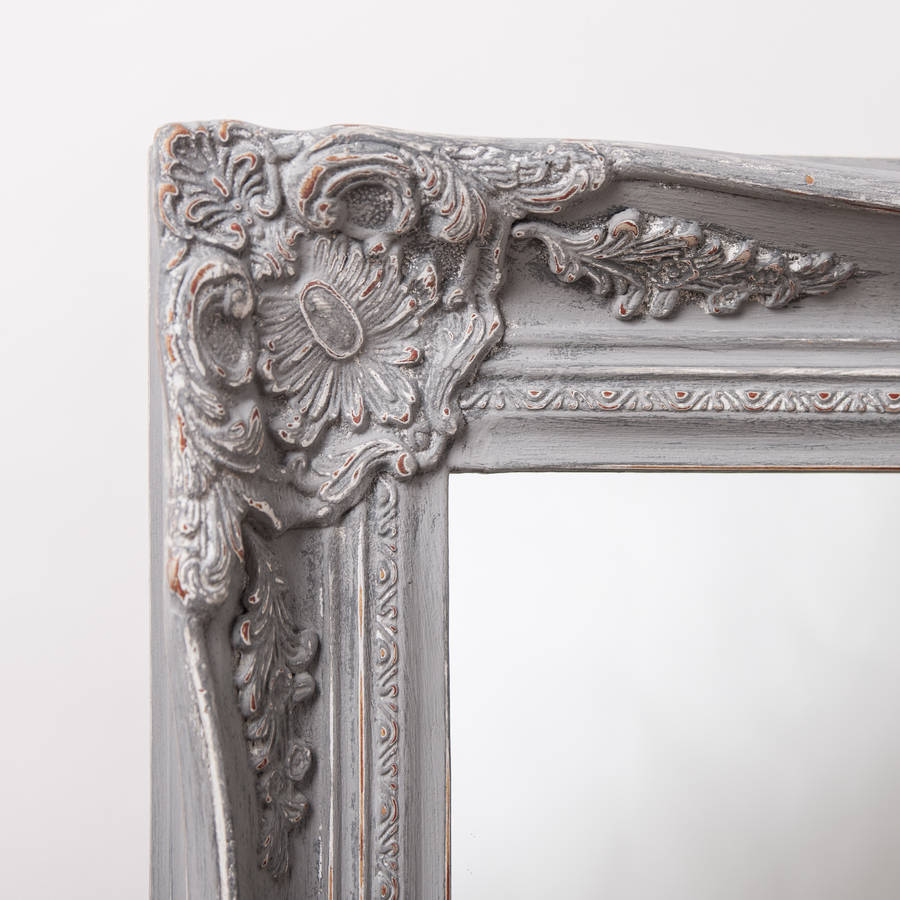 Vintage Ornate Grey Large Mirror By Hand Crafted Mirrors