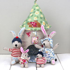 Fabric Rabbit House And Family