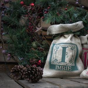 Personalised Hessian Sack With Cinnamon Pine Cones