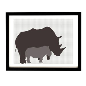 Mother And Baby Rhino Art Print - posters & prints for children