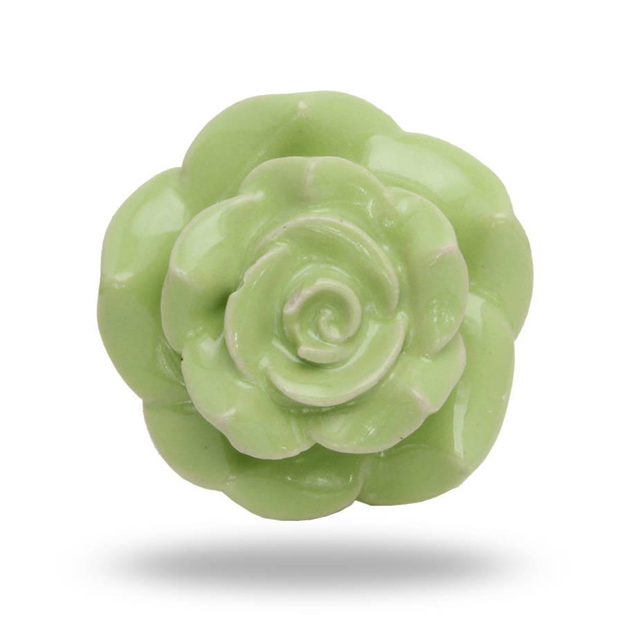 Large Ceramic Mitchy Flower Knob In Green