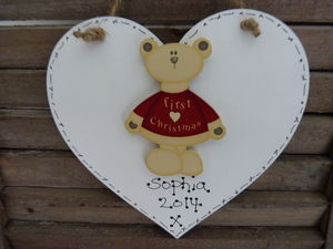 1st Christmas Personalised Teddy Heart