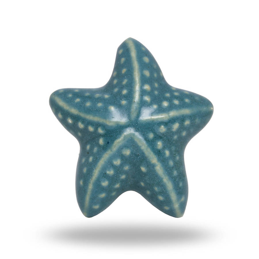 Ceramic Starfish Knob For Drawers In Blue