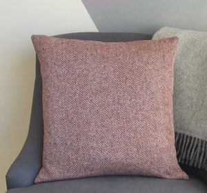 ' Cranberry ' Herringbone Tweed Cushion