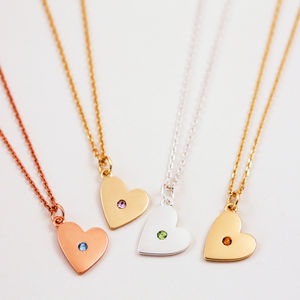 Heart Birthstone Necklace - personalised gifts for her