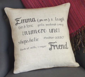 ' Friend ' Personalised Birthday Gift Cushion