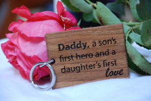 Daddy A Son's First Hero, Daughter's First Love Keyring - men's accessories