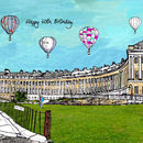 Balloons Over Royal Crescent Personalised Print