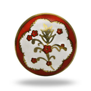 Round Ceramic Poitier Decorative Knob In Red And White - home