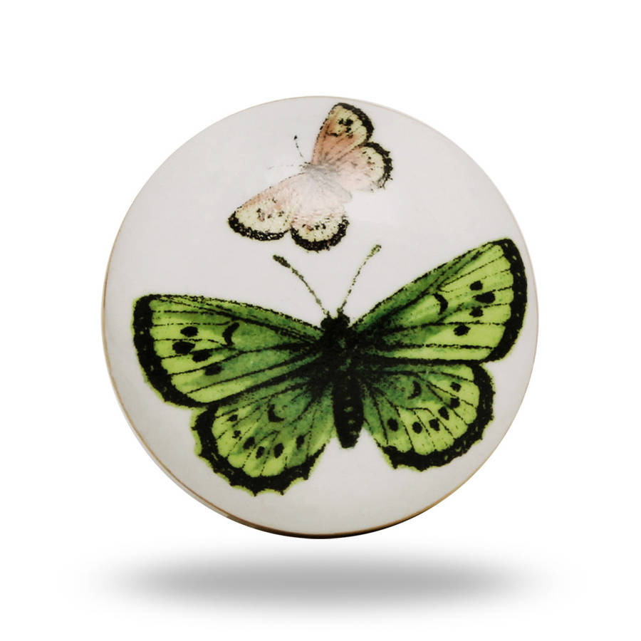 Ceramic Butterfly Knob In Green And Pink