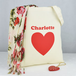Personalised 'Heart' Tote Shopping Bag
