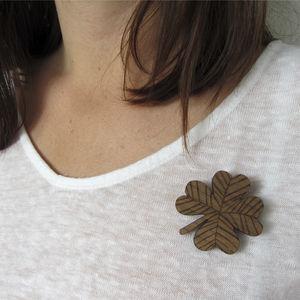 Wooden 'Sprig' Brooch