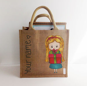 Hand Painted Personalised Xmas Charm Street Cuties Bag - totes