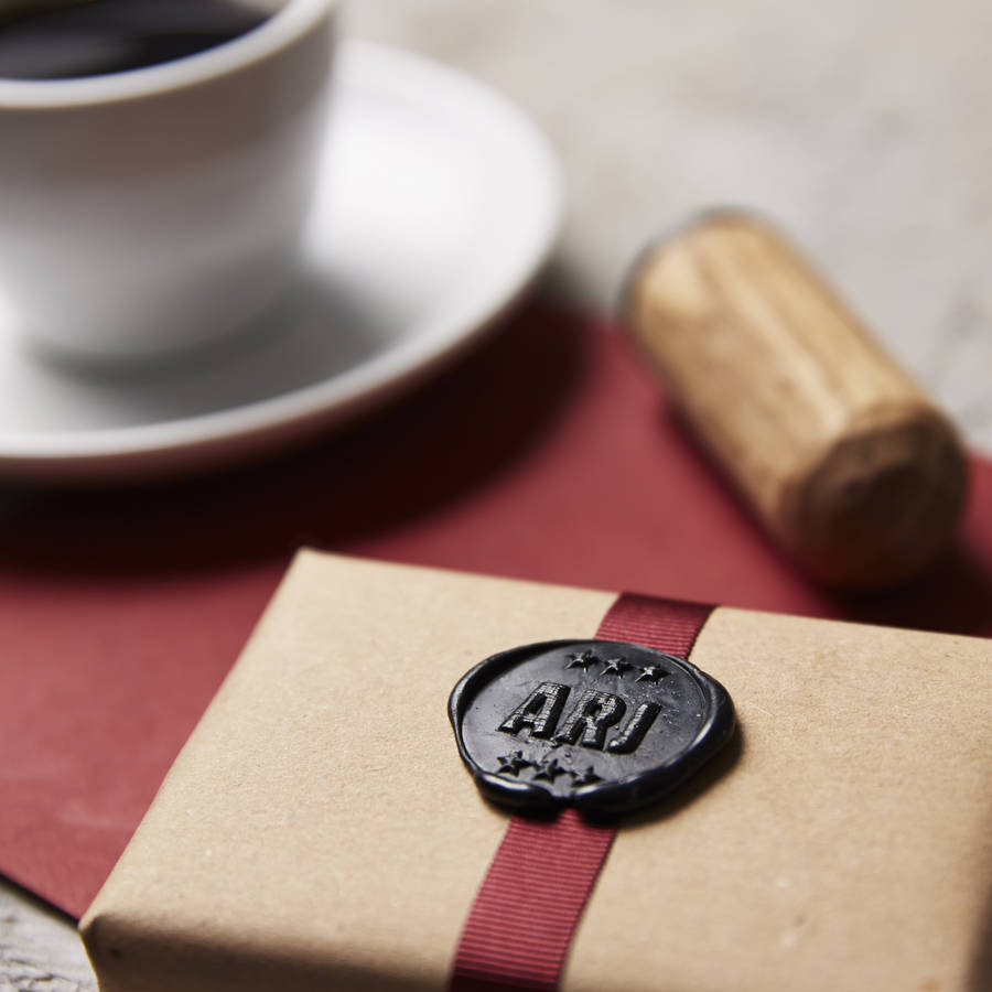 personalised star monogram wax seal stamp by sophia victoria joy ...