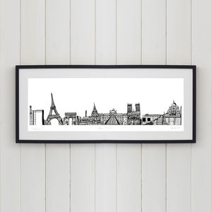 Paris Skyline Screen Print - posters & prints