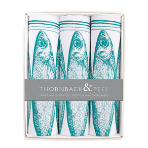 Box Of Three Sardine Hankies - gifts for him