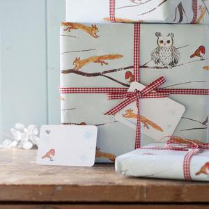 Winter Woodland Christmas Gift Wrap Set - ribbon & wrap