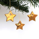 Three Little Gold Star Decorations