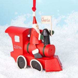 Personalised Christmas Red Train - tree decorations