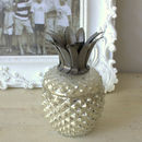 Mercury Glass And Silver Pineapple Candle