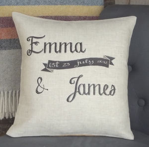 ' Est. Banner ' Personalised Cushion