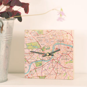 Personalised Mini Square Map Clock - clocks
