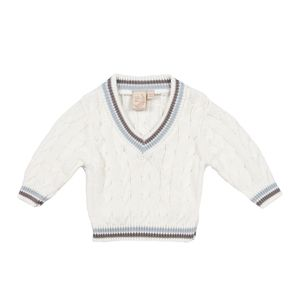 Baby Boys Cream Cricket Jumper With Tipping